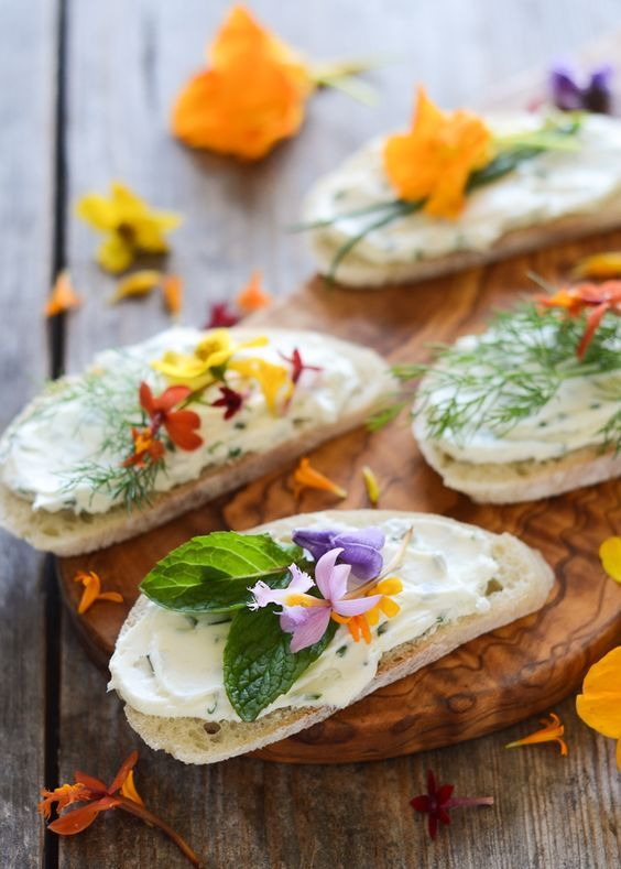 cheese sandwiches with edible flowers recipe