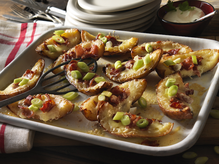 Crispy Potato Skins with Cheddar, Bacon and Sour Cream